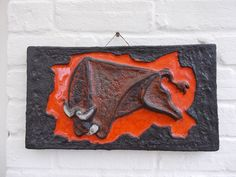 Ruscha Scheurich German Vintage 70s Pop Art Modernist Fat Lava XL Bull Wall Tile #WallPlaques