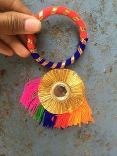 Cretive for bangels Silk Thread Bangles Design, Thread Jewellery, Fabric Jewelry, Antique Jewellery Designs, Handmade Jewelry Designs, Gota Patti Jewellery, Bridal Jewelry, Beaded Jewelry, Rakhi Design