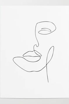 Art Drawings Sketches Simple, Pencil Art Drawings, Easy Drawings, Abstract Face Art, Abstract Lines, Minimalist Drawing, Minimalist Art, Outline Art, Face Outline