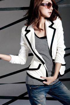 Simple Patchwork Turndown Collar Long Sleeves White Suit