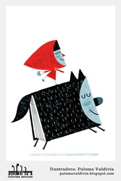 Little Red Riding Hood - Le petit CHaperon ROuge - Paloma Valdivia Little Red Ridding Hood, Red Riding Hood, Charles Perrault, Red Hood, Wolf, Children's Book Illustration, Illustrations Posters, Graphic Art, Fairy Tales