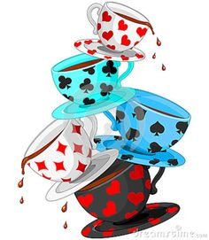 Alice in Wonderland Tea Party Clip Art | Tea Cups Pyramid Royalty Free Stock Image - Image: 30971226
