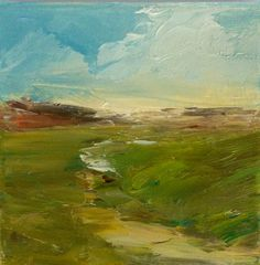 Vast Path Oil Painting 6 x 6 Stretched Linen by Studio155 on Etsy, $54.00