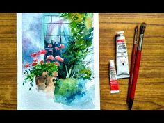 How to paint a windows and flowers in watercolor | Paint with david - YouTube