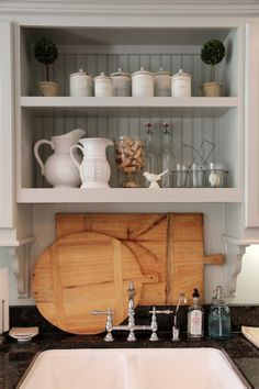 belle maison  the styled kitchen would be a nice over the sink option kitchens without windows over sink   google search   new house      rh   pinterest com