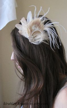 ULICIA - Ivory, Cream and Champagne Peacock Ostrich Feather Wedding Bridal Fascinator Hairpiece Clip w/ Rhinestones