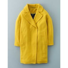Boden Carrie Coat ($209) ❤ liked on Polyvore featuring outerwear, coats, mimosa yellow, boden, yellow coat and oversized coat
