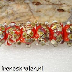 Lampwork Beads Set of 6 homemade glassbeads red & by IrenesBeads, €15.00
