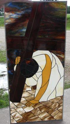 Crucifiction - finished - Bethel Chapel Church, Poplar Bluff, MO 2005 & 2008, by Sandy (Johnson) Burnett, (formerly Glass with a MIssion, Art-Attack-Studios,  GlassMoose.com)