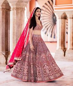 Stunning Anita Dongre lehenga in maroon red | Red lehenga with gottapati work | Indian bridal fashion | Bridal couture | Dupatta draping ideas | Bride in red | Intricate embroidery work | Bridal lehenga inspiration | Every Indian bride's Fav. Wedding E-magazine to read. Here for any marriage advice you need | www.wittyvows.com shares things no one tells brides, covers real weddings, ideas, inspirations, design trends and the right vendors, candid photographers etc.