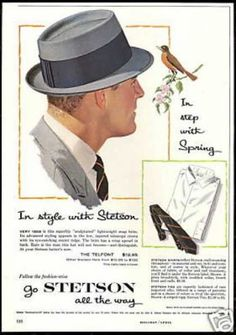 Classic men's hats begin with the popular fedora. Other men's hats were the trilby, porkpie, homburg, ivy cap, walking hat and straw hats. 1950s Mens Hats, 1950s Mens Clothing, Mens Clothing Styles, Women's Clothing, Vintage Fashion 1950s, Vintage Men, Vintage Hats, Vintage Ideas, Victorian Fashion