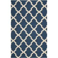 Found it at Wayfair - Cambridge Lattice Navy Blue/Ivory Area Rug (comes in 6x9)