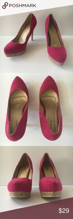 3075f1fa5f7 Torrid Hot Pink Suede Platform Cork Heels Pumps Size 12 in good preowned  condition -Small