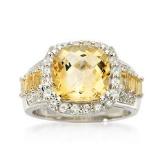 Our succulent statement ring showcases citrines, white topaz and diamond accents. Sterling silver ring.
