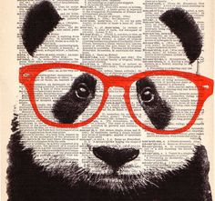 Smart PANDA Bear Wearing Glasses Art Print, Animal Illustration, Nursery Home Wall Decor, Black and White, Antique Book Page Dictionary Art Panda Love, Cute Panda, Illustrations, Illustration Art, Panda Art, Panda Panda, Newspaper Art, New Media Art, Dictionary Art