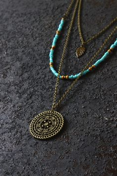 Ananke Jewelry Boho necklace, layered necklace, hippie necklace, mandala necklace, boho jewelry, handmade jewelry, bohemian jewelry, gypsy necklace, layered and long, necklace set