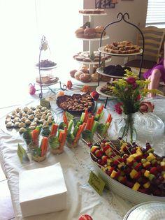 Bridal shower food spread- kabobs or strawberries Veggies