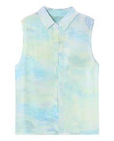 Ombre Turn-down-collar Sleeveless  Chiffon Shirt