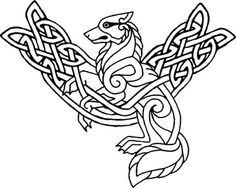 Bilderesultater for viking embroidery patterns Celtic Symbols, Celtic Art, Celtic Dragon, Celtic Knots, Celtic Patterns, Celtic Designs, Colouring Pages, Coloring Books, Fenrir Tattoo