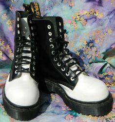 DR DOC MARTENS ENGLAND 10 Eye Steel Toe Black White Platform Combat Boots US 7 #DrMartens #Military