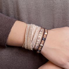 Chan Luu - Rose Gold Crystal and Nugget Single Wrap Bracelet on Natural Dark Brown Leather, $170.00 (http://www.chanluu.com/bracelets/rose-gold-crystal-and-nugget-single-wrap-bracelet-on-natural-dark-brown-leather/)