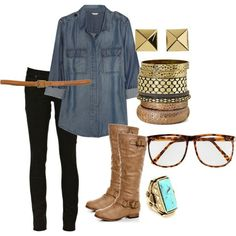 Black skinnies, jean shirt, boots, gold jewelery.