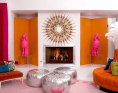 Jonathan Adler, mirror and silver ottomans