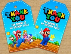 Super Mario Tags Super Mario Bros Thank You Tags Mario Party