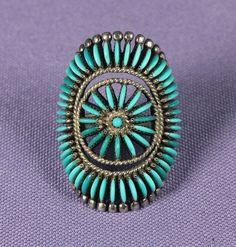 Dazzling Lone Mountain 65 Stone Zuni Ring, Jewelry by Edith Tsabetsaye.    $1,800 (reduced from $2,100)