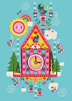 cuckoo clock illustration art cute kawaii