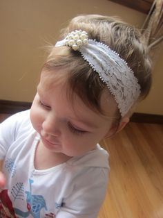 Darling Lace Rhinestones and Pearl Baby Headband by DorotasDesigns