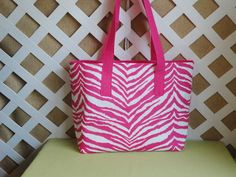 Hot+Pink+Zebra+Print+Tote+by+JRsPillowsandBags+on+Etsy,+$28.00