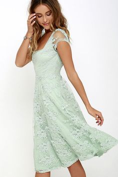 Check this Sage Green Lace Midi Dress out. Floral embroidery over sheer mesh, lace cap shoulders, raised waistline and an irresistible color of the season. A great choice for a bridesmaid dress.