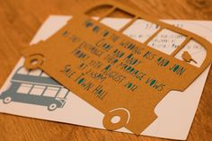 Laser cut and hand foiled bus invites by Curious Clare. Note the bird riding on the top deck!