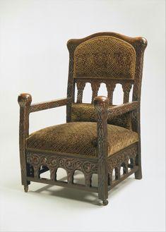 Armchair Louis Comfort Tiffany (American, New York 1848–1933 New York)  Date: ca. 1891–92 Medium: Oak, silk velvet.