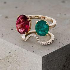 L/DANA - Anel Sensação #ldana #despertar #jewelry #design #ldanaofficial #diamonds #rubelite #emerald #ring #sensation #sensação #rosegold