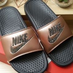 b182858f613 NIKE Benassi JDI slides These slides are amazing! Nike calls the color  metallic red bronze