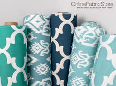 Geometric and Ikat Premier Prints fabrics for rooms with light blue, teal, navy or turquoise decor.