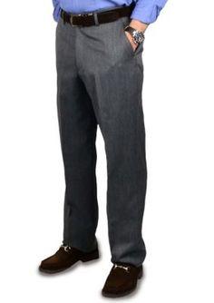 BERLE Medium Grey Super 100s Gabardine Trouser