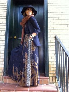 Fashion And Style: Adorable boho winter style, maxi paired with a navy blazer, burnt orange knit scarf & a floppy wide brim