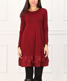 Look at this #zulilyfind! Wine Lace Empire-Waist Dress #zulilyfinds