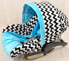 Baby Boy: Chevron Infant Seat Cover,  Baby Car Seat Cover with Matching Neck Strap Set.