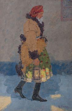 FROLKA ARNOŠT 1877–1935 Krojačka s lucernou, kolem roku 1910 Auction, Portraits, Painting, Design, Art, Art Background, Head Shots, Painting Art, Kunst