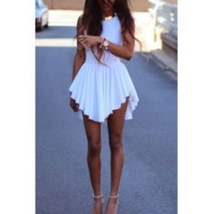 O Neck Tank Asymmetrical White Spandex Mini Dress