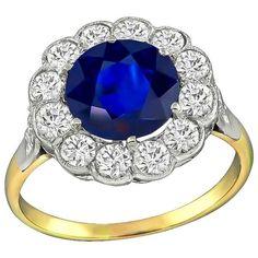 2.80 Carat Sapphire Diamond Halo Ring | 1stdibs.com