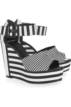 Pierre Hardy  Striped twill wedge sandals