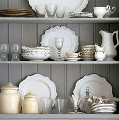 Beautiful Living Style: Gray Matters / Would be pretty with milk chocolate brown shelf background too Grey Shelves, White Dishes, White Pitchers, Gray Matters, Living Styles, Interior Stylist, Grey And Gold, Color Inspiration, Kitchen Inspiration