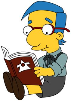 """Milford Van Houten reading a book in """"The Simpsons"""""""