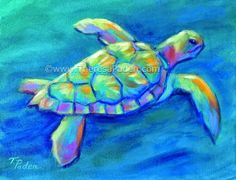 Paintings by Theresa Paden: Colorful Contemporary Sea Turtle Painting by There...