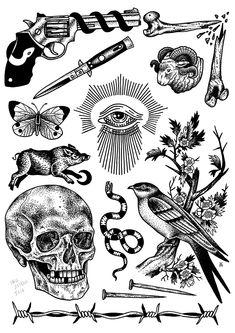 By Iria Alcojor. Tatuajes variados.